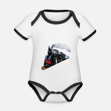 (Train) - Organic Contrast Baby Bodysuit