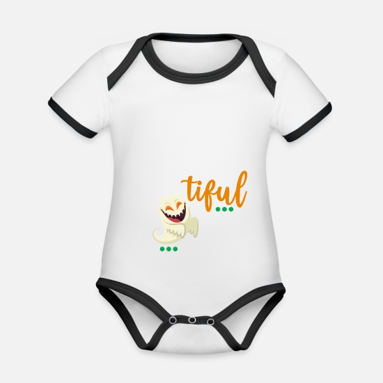 Halloween Baby Clothes - Halloween Bootiful spirit - Organic Contrast Baby Bodysuit white/black