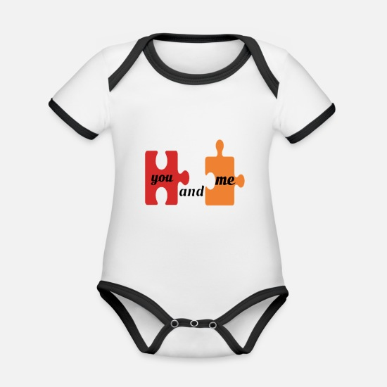 Love Baby Clothes - shop love you and me puzzle anniversary gift - Organic Contrast Baby Bodysuit white/black