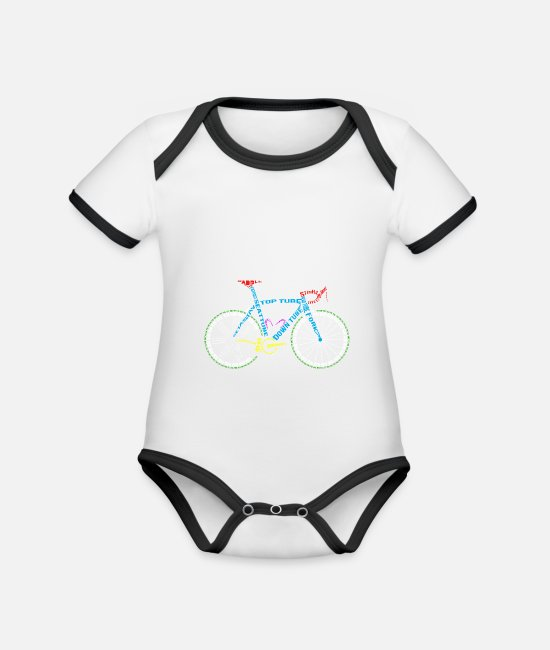 Cycling Baby Bodysuits - Bicycle anatomy for bike and cycling lovers - Organic Contrast Baby Bodysuit white/black