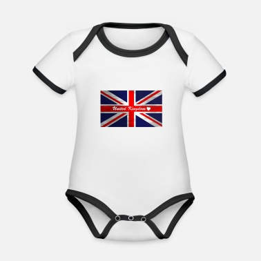 United United Kingdom Liebe <3 - Baby Bio Kurzarmbody zweifarbig
