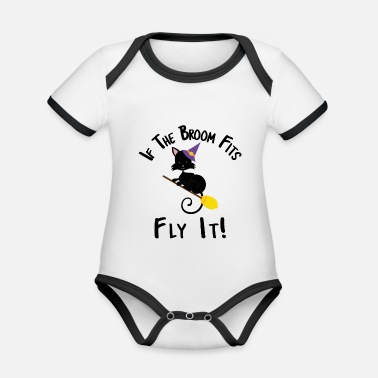Witch If The Broom Fits Fly It Halloween Cat Designs - Organic Baby Contrasting Bodysuit