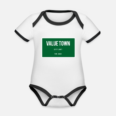 Town Value Town town sign - Organic Contrast Baby Bodysuit
