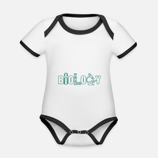 Gift Idea Baby Clothes - Biology Microscope Biologist Researcher Gift - Organic Contrast Baby Bodysuit white/black