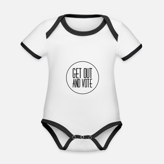 Politics Baby Clothes - Get Out And Vote 2 - Organic Contrast Baby Bodysuit white/black