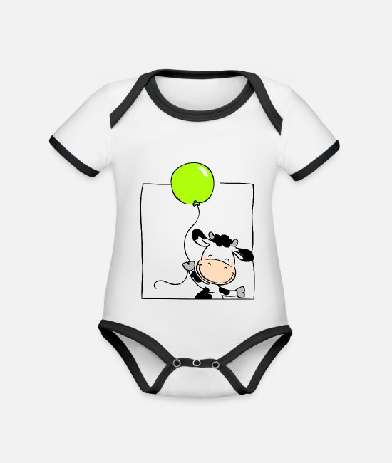 Pregnancy Baby Bodysuits - Cow with Balloon - Organic Contrast Baby Bodysuit white/black