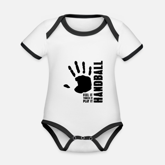 Birthday Baby Clothes - Handball feel it touch it play it - Organic Contrast Baby Bodysuit white/black