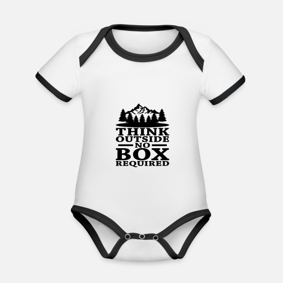 Birthday Baby Clothes - Hiking - Organic Contrast Baby Bodysuit white/black