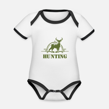 Hunting Hunting hunters hunt - Organic Contrast Baby Bodysuit