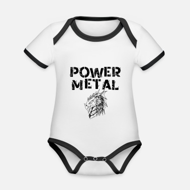 Power Metal Power Metal Dragon - Organic Contrast Baby Bodysuit