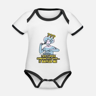 Old old woman eats something - Organic Contrast Baby Bodysuit