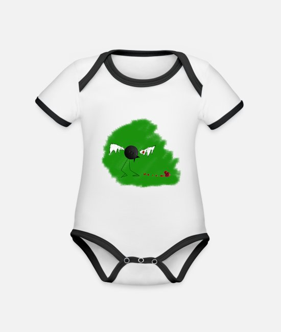 Drawing Baby Bodysuits - bird ketchup 3 - Organic Contrast Baby Bodysuit white/black