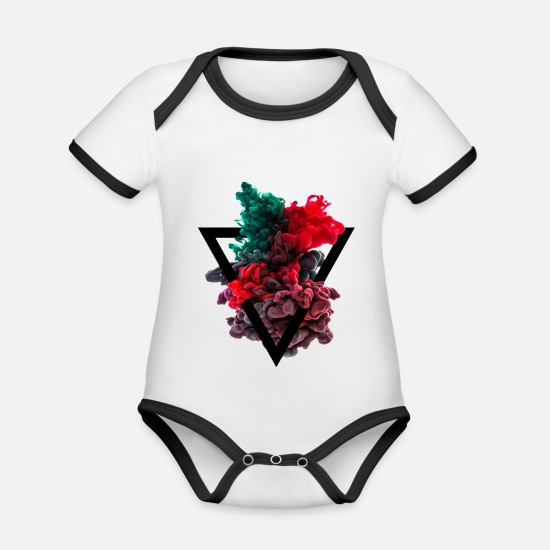 Green Baby Clothes - Color and water - Organic Contrast Baby Bodysuit white/black