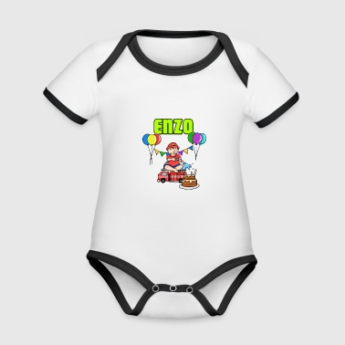 Fire Department Enzo Gift - Organic Baby Contrasting Bodysuit