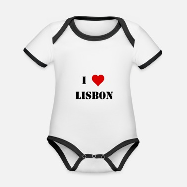 Ilove You I love Lisbon english black gift idea - Organic Baby Contrasting Bodysuit