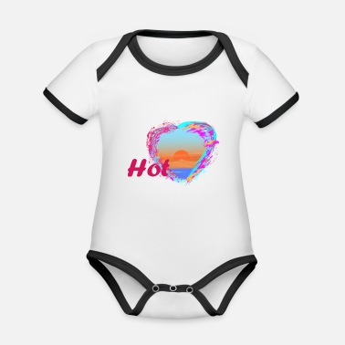Hot, heart, sun and desert - Organic Contrast Baby Bodysuit