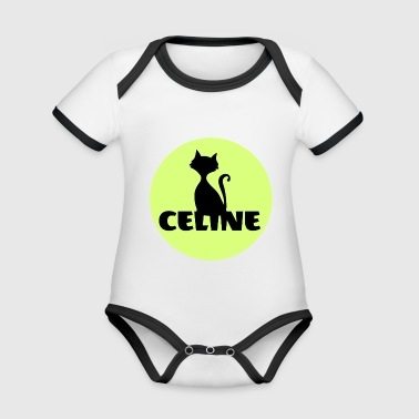 Celine First name Cats motif - Organic Baby Contrasting Bodysuit