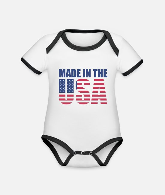 Usa Baby Clothes - Made in the USA - Organic Contrast Baby Bodysuit white/black