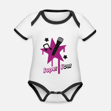 Superstar superstar - Baby Bio Kurzarmbody zweifarbig
