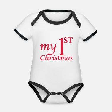 Christmas My First Christmas - Baby første jul - - Økologisk kontrast babybody