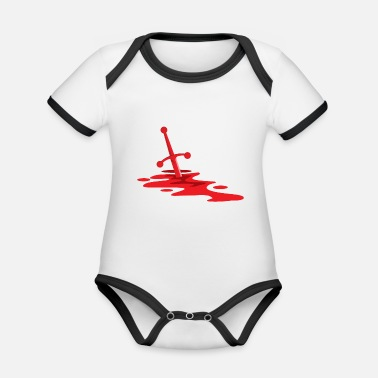 Blood-red blood red sword in blood - Organic Contrast Baby Bodysuit