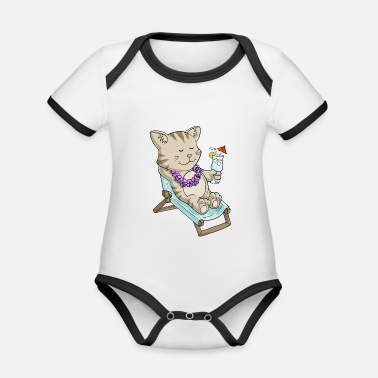 Comic Cocktail Sunbathing comic cat - Organic Contrast Baby Bodysuit