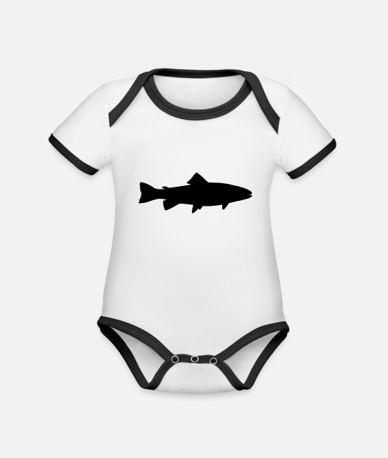 Trout Baby Clothes - Trout - Organic Contrast Baby Bodysuit white/black