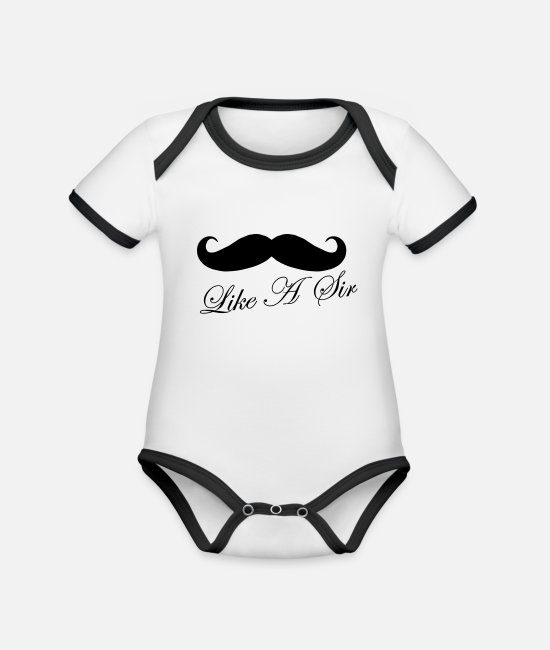 Love Baby Clothes - Like A Sir - Organic Contrast Baby Bodysuit white/black