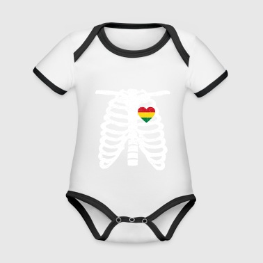 Home heart heart Bolivia rooted roots proud proud - Organic Baby Contrasting Bodysuit
