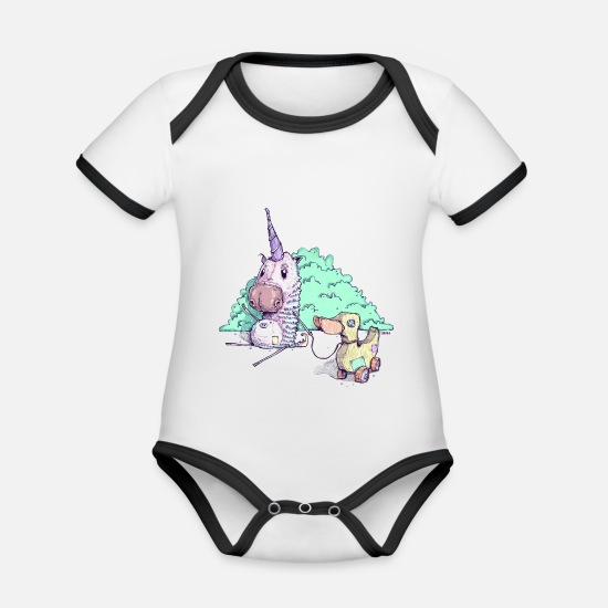 Kindergarten Baby Clothes - The little unicorn - Organic Contrast Baby Bodysuit white/black
