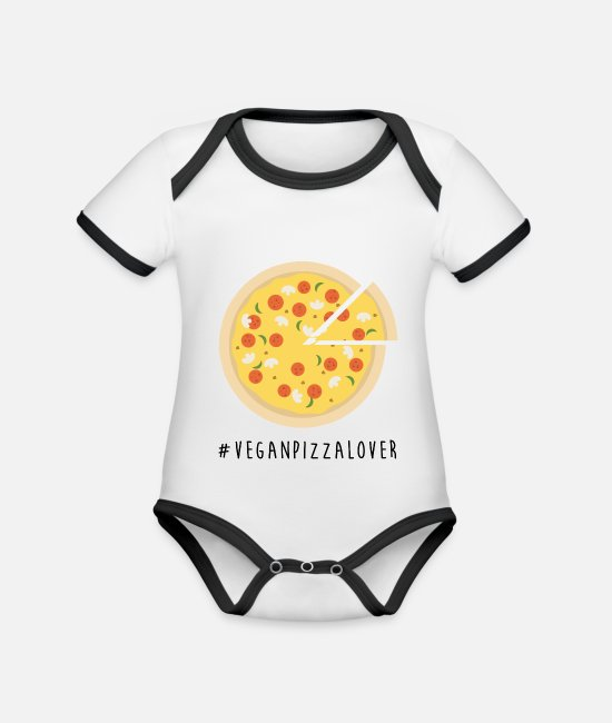 Pizza Baby Bodysuits - Vegan Pizza Lover - Organic Contrast Baby Bodysuit white/black