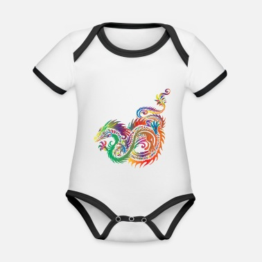 Dragon Head Dragon - Organic Contrast Baby Bodysuit