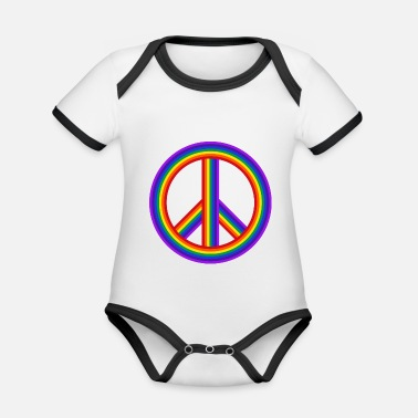 Hipster world peace on earth world peace on earth love144 - Organic Contrast Baby Bodysuit