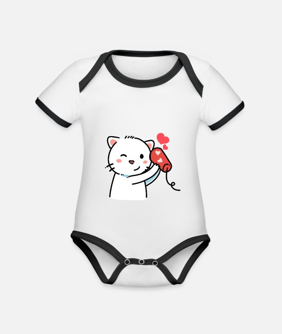 Cats And Dogs Collection Body neonato - telefono del gatto - Body neonato bicolor bianco/nero