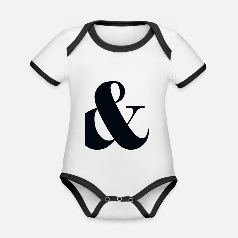 With Baby Clothes - and, plus, punctuation, - Organic Contrast Baby Bodysuit white/black