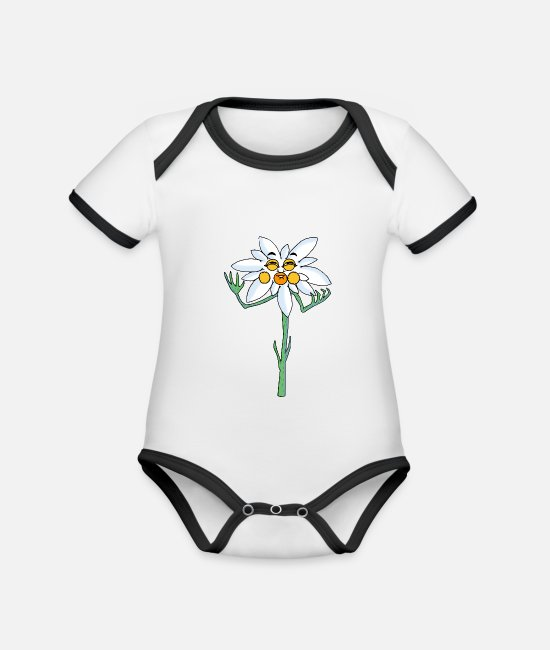 Garden Baby Clothes - edelweiss - Organic Contrast Baby Bodysuit white/black