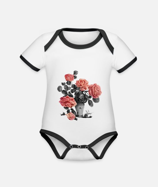 I Love Baby Bodysuits - Flowers roses - Organic Contrast Baby Bodysuit white/black