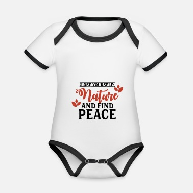 Nature is peace - Organic Contrast Baby Bodysuit