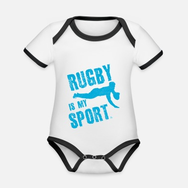 Rugby Rugby is my sport - Organic Contrast Baby Bodysuit