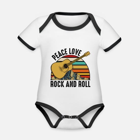 Guitar Player Baby Clothes - guitars - Organic Contrast Baby Bodysuit white/black