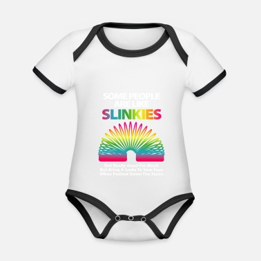 Humour Some people are like slinkies sarcastic or bold - Organic Contrast Baby Bodysuit