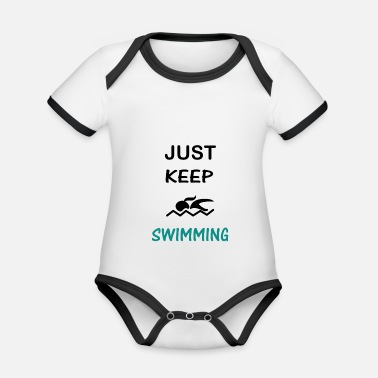 Outdoor Swimming Swim Swimmer Gift - Organic Contrast Baby Bodysuit