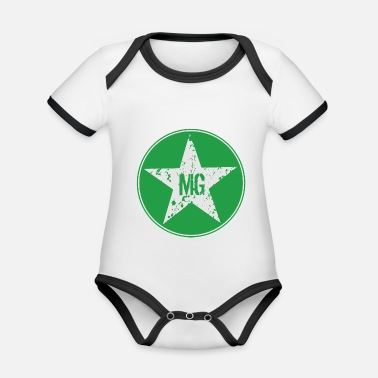 Mg MG star in the circle - Organic Contrast Baby Bodysuit