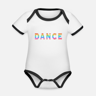 Multi Coloured Multi Coloured Dance Typography - Organic Contrast Baby Bodysuit