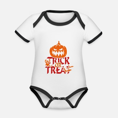Trick Or Treat Trick or Treat at Halloween - trick or treat - Organic Contrast Baby Bodysuit
