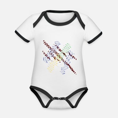 Multi-colored Multi color waves - Organic Contrast Baby Bodysuit