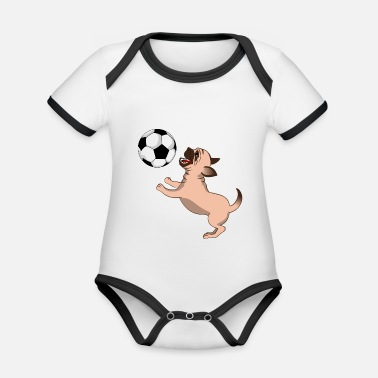 Sport Dog In The Air With Soccer Ball - Baby Bio Kurzarmbody zweifarbig