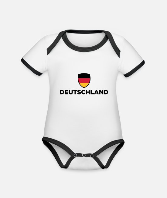 Country Baby Clothes - National flag of Germany - Organic Contrast Baby Bodysuit white/black