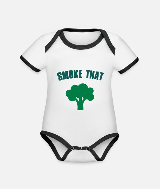 Rap Baby Bodysuits - Smoke that Broccoli - Organic Contrast Baby Bodysuit white/black