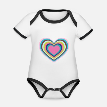 Psychedelic Psychedelic Heart - Organic Baby Contrasting Bodysuit